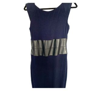 Form fitting navy dress with black vegan leather